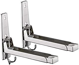 304 Stainless Steel Microwave Oven Wall Mount Stand Holder Shelf Rack with Removable Hook