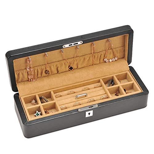 Preisvergleich Produktbild MMMP Aufbewahrungsbehälter,  Leder Double-Layer-Haushalt Trinket-Halter,  Retro-kosmetischer Fall,  Dekoration Box,  Mit Schlüssel,  Größe: 35x12.5x9.5cm (Schwarz)