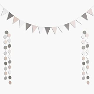 ALOHA Cheer Pink Gray WhiteTriangle Flags Paper Banner with 40pcs Glitter Circle Dots Garland Bunting for Wedding Engagement Baby Shower Birthday Bachelorette Party Decorations