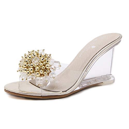 Sandalias de tacón de cuña de Mujer Cristal Transparente Slip en Tacones Altos Cristal Verano Cristal Rhinestone Abierto Toe Zapatos de Vestir Fiesta
