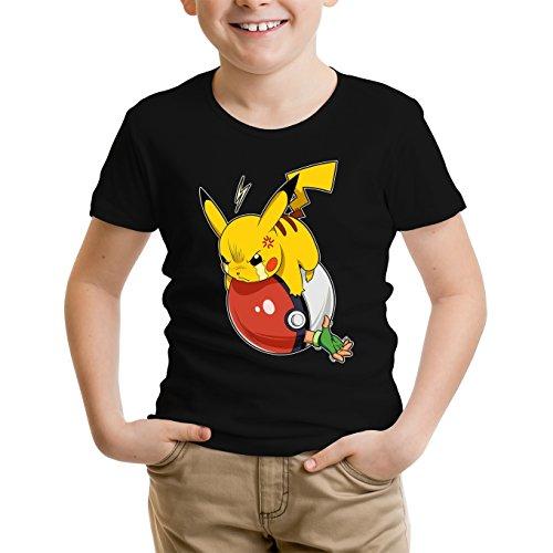 Pokémon Lustiges Schwarz Kinder T-Shirt - Pikachu und Satoshi (Pokémon Parodie) (Ref:777)