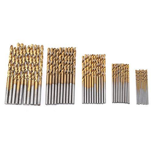 50 Unids Conjunto de Brocas de Acero de Alta Velocidad Galjanoplastia Titanio Recto Mano Giro Brocas…