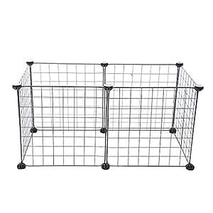 Homyl Fil Métallique pour Animaux De Compagnie Chien Lapin Exercice Parc à Clôtures Cage 6 Panneaux