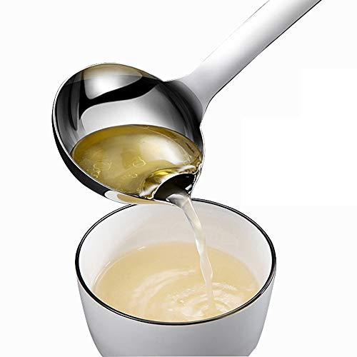 Oil Separator Spoon, 304 Stainless Steel Soup Ladle Filter Grease Colander, Home Kitchen Cooking Fat Oil Separating Skimmer,Steel