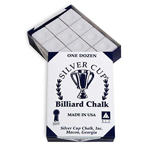 Buy Discount Sterling Gaming Silver Cup Pool Cue Chalk Cubes in White - 12 Pc Set
