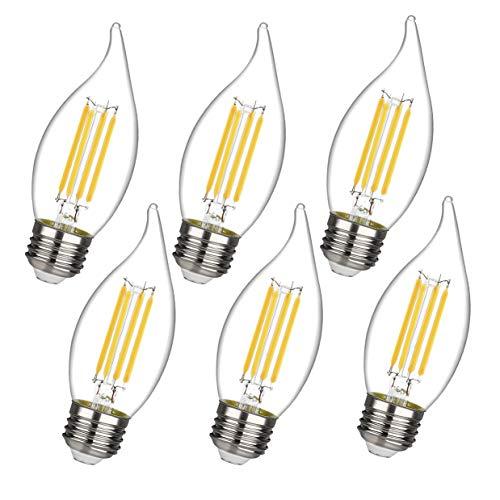 C35/CA11 Chandelier led Light Bulbs, Dimmable 4W Equivalent to 40W LED Candelabra Bulbs, 2700K Warm White, E26 Standard Base LED Bulbs, Flame Tip (C35-E26-6 Pack)