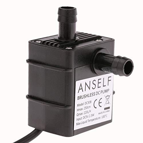 Anself Mini Pompa Acqua Brushless Sommergibile, 220L/H Ultra Silenzioso Pompa di Circolazione per Acquario Pompa di Aspirazione USB,DC 5V 2.5 m
