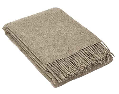 Manta de lana Zelanda de Nostra, 100 % lana, manta cálida, perfecta para bebés, manta de color natural, 140 x 200 cm
