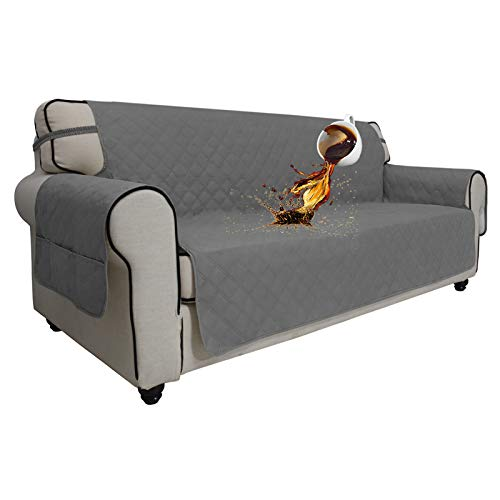 Easy-Going Sofa Slipcover Waterproof Couch Cover Non-Slip Sofa Cover for 3 Cushion Couch Seamless Whole Piece Fabric Furniture Protector for Pets Kids Children Dog Cat(Sofa, Gray)