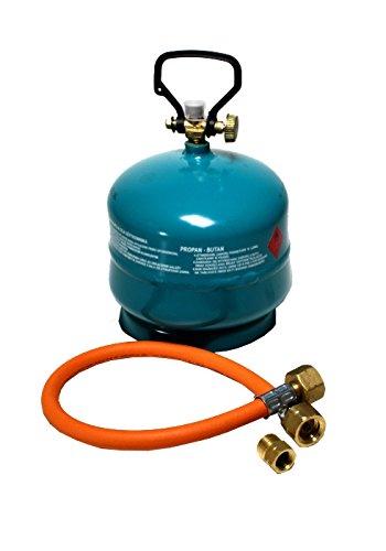 Gasflasche Propan Butan Gas 2 kg + Adapter + Umfüllschlauch Aktionsset leer befüllbar