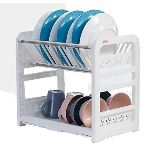 DJSMsnj Kitchen Storage, Kitchen Shelf,Multifunction Kitchen Storage Double Plastic Drain Dish Rack Kitchen Storage Storage Rack 405 * 245 * 360mm. Cutlery Racks