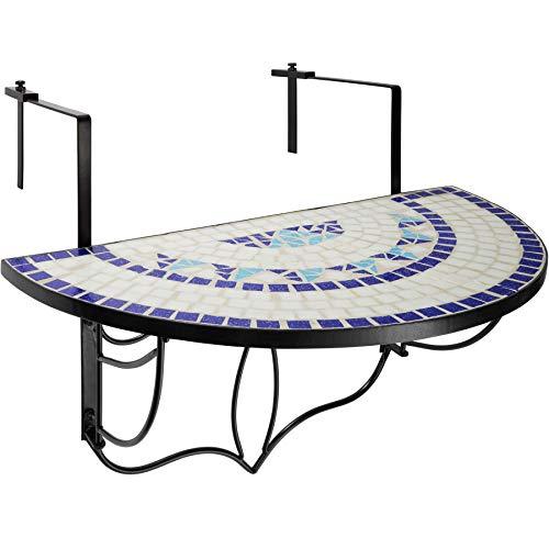 TecTake 800570 Mesa de Balcón Plegable Mosaico, Mesa para Colgar, (Azul-Blanco | no. 402766)