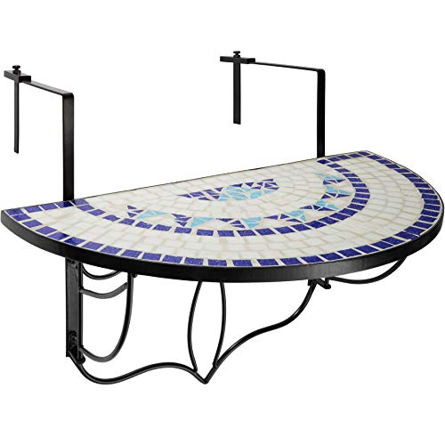 TecTake 800570 - Balkonhängetisch zusammenklappbar, Halbkreisförmiges Design, Tischplatte aus Steinmosaik - Diverse Farben (Blau-Weiß | Nr. 402766)