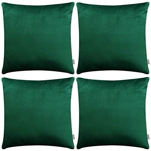 4Stück Deko-Kissenbezug, quadratisch, weiche Samt-Kissen für Sofa Couch (45,7x 45,7cm 45x 45cm, nur für Schlafzimmer, mit) grün