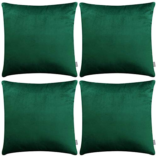 4 Pack Pillow Case,Decorative Square Soft Velvet Throw Pillow Covers for Sofa Bedroom Couch(Cover Only,No Insert) (20x20inch/50x50cm, Green)