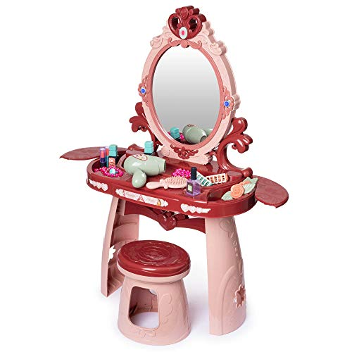 Hoovy Girls Vanity Table Toy to Pretend Makeup with Mirror Chair Set for Toddler Kids Little Girls Pink Makeup Kits Toys for 2, 3, 4, & 5 Year Old Girls