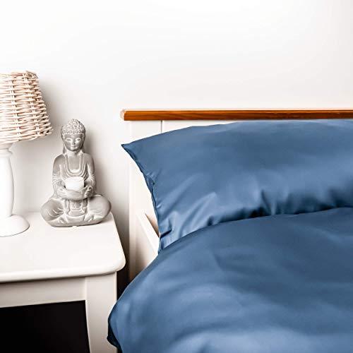 kosier Bettwäsche 135x200 cm mit Kissenbezug 80x80 cm– besonders nachhaltig aus 100% Bambus Lyocell, wärmende Winterbettwäsche, Allergiker Bettbezug in Blau Grau