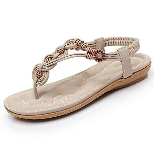 Comfortabel en veelzijdig temperament Flip Flops For Women Thong Sandals Slip-on Bohemian Style 3cm Platform ronde neus Flat Elastiekjes Kralen Decoratie Gum-rubber zolen hjm nvxie jfidmra