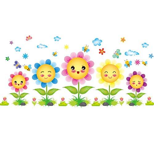GWFVA Pegatinas de Puerta de Vidrio para jardín de Infantes Pegatinas de Pared de Flores de Cara Sonriente Pegatinas de Dibujos Animados Patadas Pintura de Pared Decorativa Línea de Pared Creativa