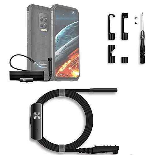 Ulefone Endoscopio 3 en 1 (Solo es Compatible con el Smartphone Armor 9 / 9E), Cable semirrígido,E1 IP67 Impermeable, 6 Luces LED Regulables