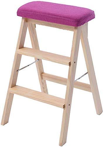 AISHANG Klappstuhl / Leiter, zusammenklappbar, aus Holz, multifunktional, faltbar, rutschfest, für Bibliothek zu Hause, 3 Ebenen, Kapazität 150 kg, waschbar, Pad rot