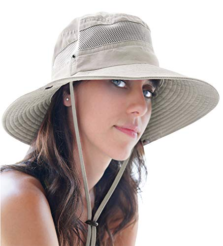 GearTOP Womens Foldable Wide Brim Hat for Travel and Hiking Sun Hats with UV Protection Against Premature Aging & Sun Damage (Beige, 7-7 1/2)