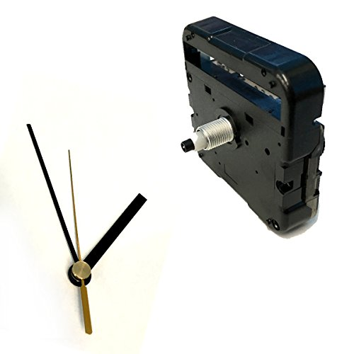 手作り時計用ムーブメント 時計シャフト & 針セット (静かなスイープ式ミドルシャフト&棒型・黒Q-9)