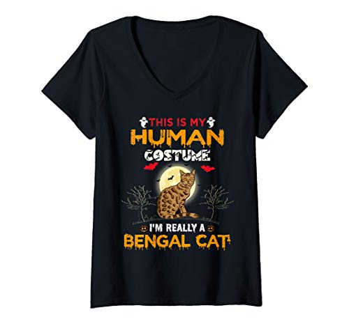 Womens This Is My Human Costume I'm Really A Bengal Cat Halloween V-Neck T-Shirt