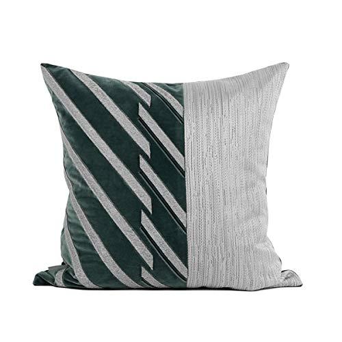 LLWYH Fundas De Cojines Lujo Beige Gris Textura Empalme Parche Sofá Dormitorio Sala De Estar Decoración Funda De Almohada Cuadrada Verde Oscuro 50 x 50 cm (Incluido El Núcleo)
