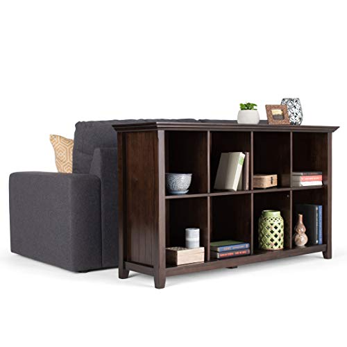 Simpli Home Acadian 8 Cube Storage Sofa Console Tables, 57 Inch, Brunette Brown