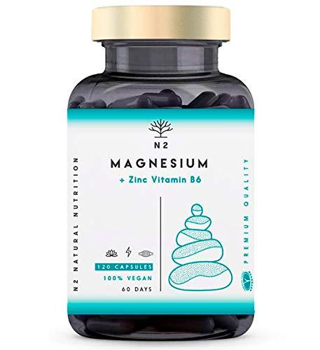 ZMA Magnesium Vitamine B6 Zink Tabletten Vermindert Vermoeidheid Verbetert Slaap en Vermoeide Benen Magnesium Forte Toeneemt Testosteronniveaus 120 Plantaardige Capsules Vegan EC N2 Natural Nutrition
