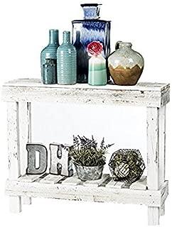 Del Hutson Designs- Rustic Barnwood Sofa Table, USA Handmade Reclaimed Wood (White)