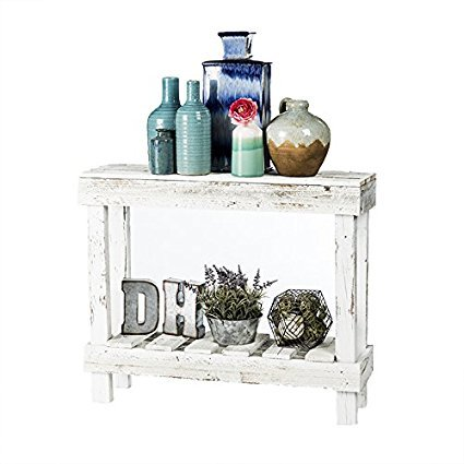 DAKODA LOVE- Rustic Barnwood Sofa Table, USA Handmade Reclaimed Wood (White)