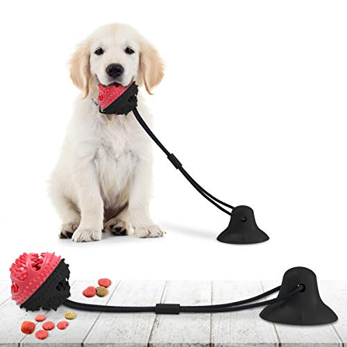 Dog Chew Toys for Aggressive Chewers, CAMTOA Suction Cup Dog Chewing Toy, Dog Rope Ball Toys with Suction Cup for Small Large Dogs, Puppy Dog Teeth Cleaning Interactive Pet Tug Toy for Boredom