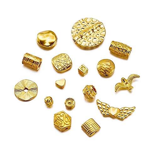 盛世汇众 500 g Forma mezcló los Granos de Búsqueda de aleación de Oro Ligero de la joyería Que Hace Bricolaje Pulsera del Collar ~ 4~40mm 50x4, Agujero: 1~5 mm 500g / Lot