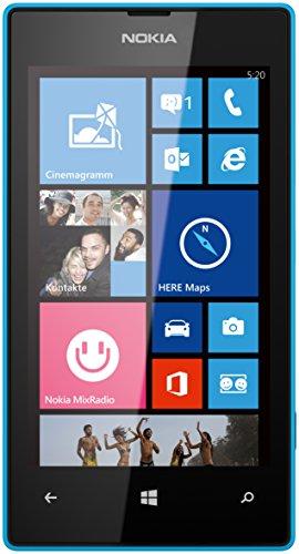 Nokia Lumia 520 Smartphone (10,1 cm (4,0 Zoll) WVGA ClearBlack LCD Touchscreen, 5,0 Megapixel Auto Fokus Kamera, 1,0 GHz Dual-Core-Prozessor, Windows Phone 8) cyan