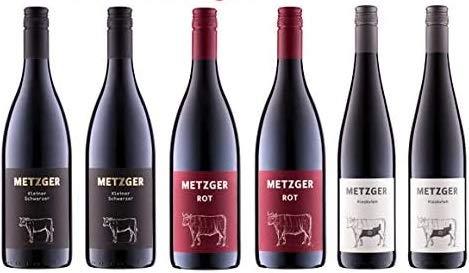 6 er Probierpaket Weingut Metzger   Rotwein aus der Pfalz   6 x 0,75l