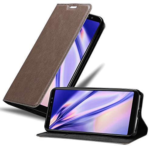 Cadorabo Hülle für Samsung Galaxy A8 2018 (8) - Hülle in Kaffee BRAUN – Handyhülle mit Magnetverschluss, Standfunktion & Kartenfach - Hülle Cover Schutzhülle Etui Tasche Book Klapp Style
