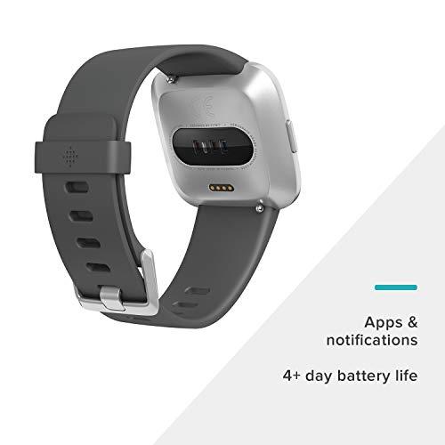 Montre connectée Fitbit Versa, Noir/Aluminium, Taille Unique (Bandes S et L incluses)
