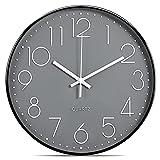 Lisedeer Orologio da parete al quarzo, 30 cm, silenzioso, senza ticchettio, analogico, colore nero grigio