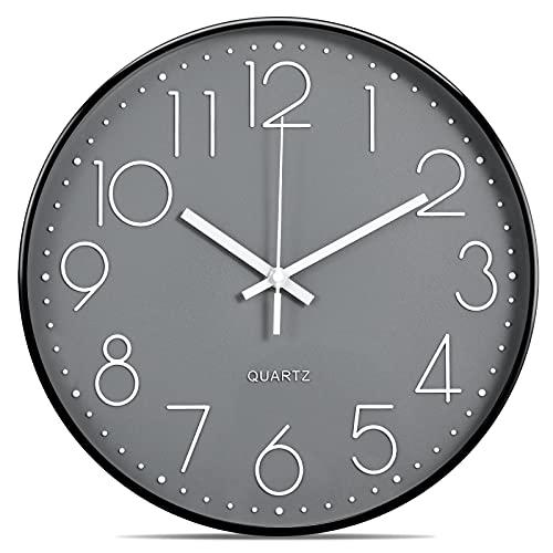 Lisedeer Reloj de Pared analógico de Cuarzo de 30 cm, silencioso, segundero silencioso, sin tictac, Color Negro y Gris