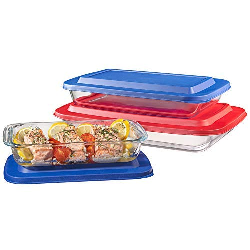 Set of 3 Upgraded Rectangular Glass Bakeware Set with Multi-Color BPA-Free Lids | Superior Oblong Glass Baking Dishes for Casseroles, Lasagna, Leftovers, Cooking, | Essential Kitchen Items