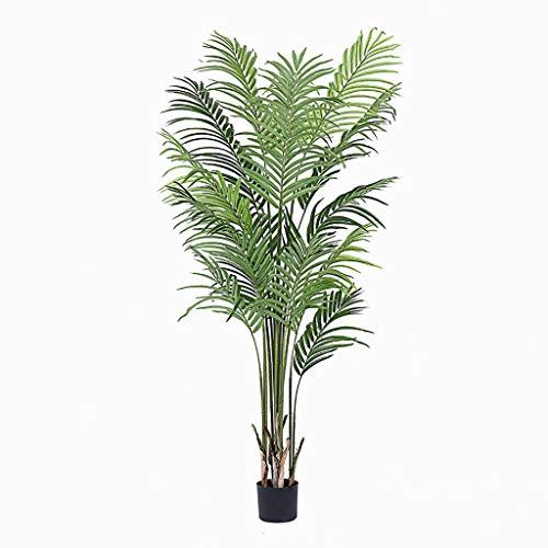 Bloem Kunstmatige groene palmboom plant,Met kleine zwarte wastafel Grote potplant Fake plant blad Voor binnen en buiten kantoordecoratie