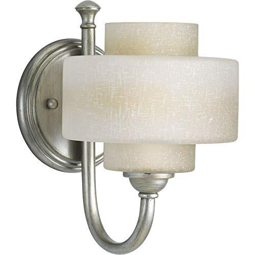 Progress Lighting P2885-134WB Ashbury One Light Bath Vanity, Silver Ridge Finish with White Linen Glass