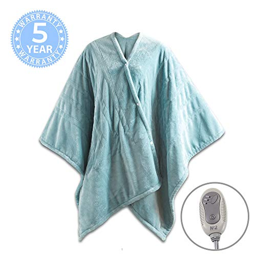MP2 Electric Heated Poncho Shawl Wrap Sherpa Throw Blanket with Buttons Auto Shut Off 50'x 64', Seafoam