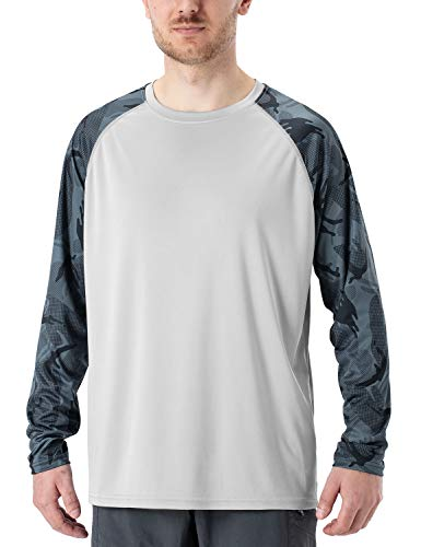 Naviskin Men's UPF 50+ Sun Protection Long Sleeve Printed T-Shirt Outdoor Recreation Fishing Running Hiking Swim Board Shirt Grey Size XXL