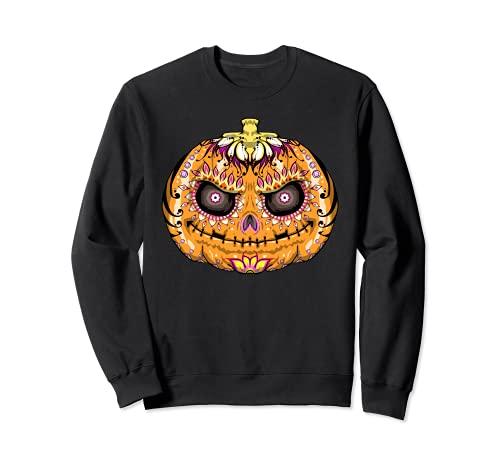 Calavera de azcar de calabaza, crneo de Halloween Sudadera