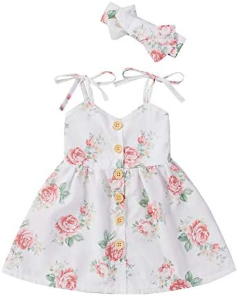 IZYJOY Toddler Baby Girls Summer Dress Flower Print Buttons Halter Dress with Headband Clothes product image