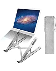 A-TION Laptop Stand, 6-Angles Adjustable Laptop Holder Portable Riser Ergonomic Aluminum Notebook Stand Foldable Computer Stand Ventilated Design, with Slide-Proof Silicone and Protective Hooks