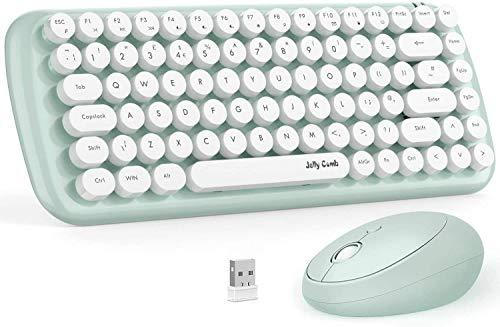 Jelly Comb Tastatur und Maus Set, 2.4Ghz Nette Retro runde Tastenkappen Kabellose Tastatur mit Funkmaus Kombi für Laptop, PC und Smart TV, UK Layout QWERTZ, Grün